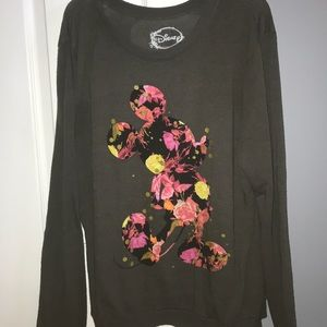 Floral Disney Mickey Mouse Light Crewneck